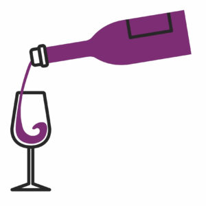 Wein wird aus Flasche in Glas eingeschenkt